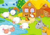 Cartoon-Farm und lustige Tiere. Kinder-illustration
