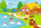 Funny farm and playing animals. Children illustration