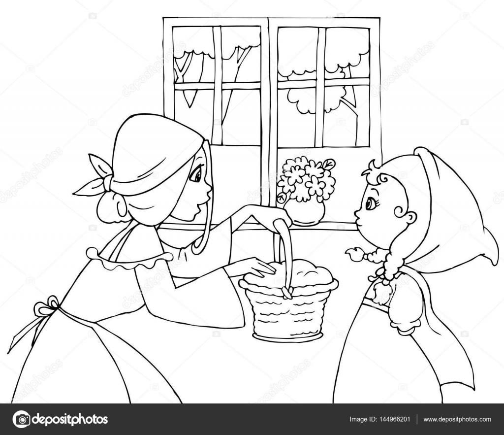 Disegni da colorare cappuccetto rosso e la mamma for Cappuccetto rosso da colorare