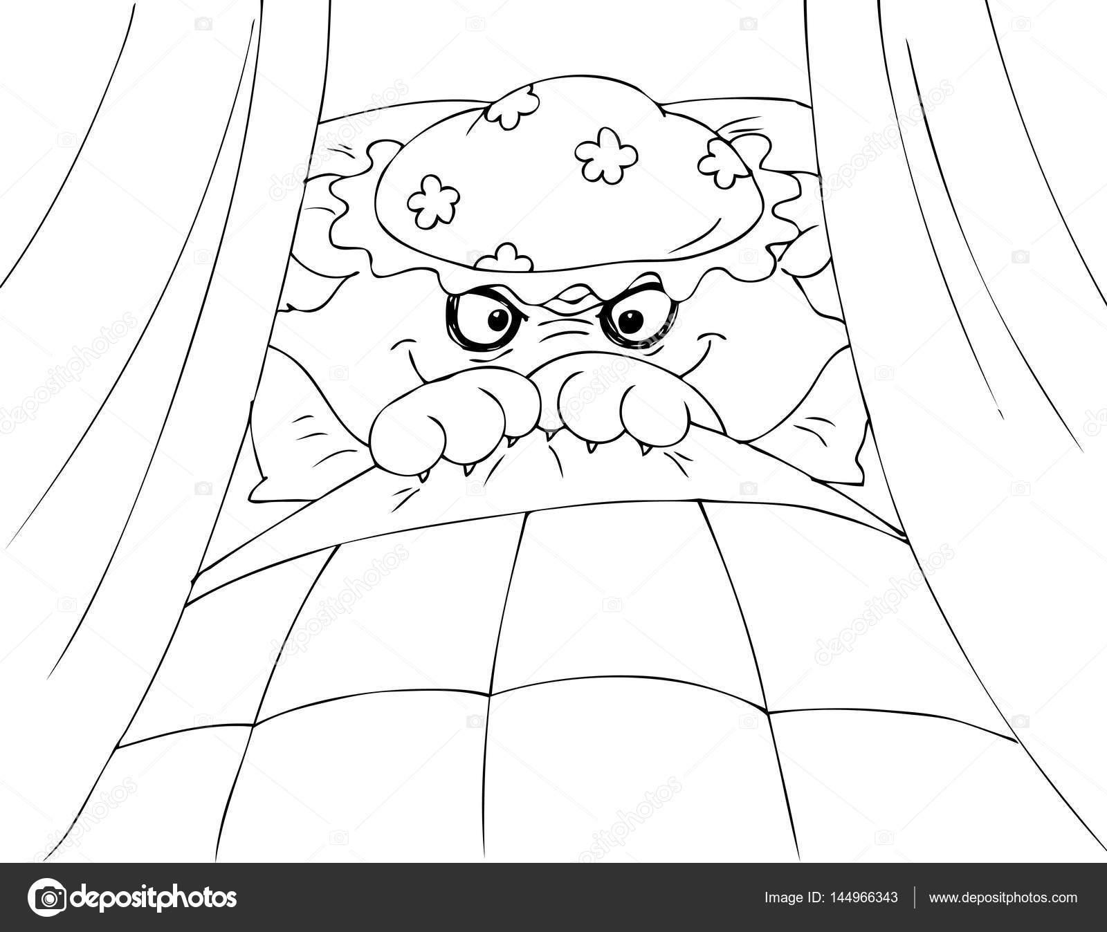 Colorear el lobo feroz en vector de cama de la abuela — Archivo ...