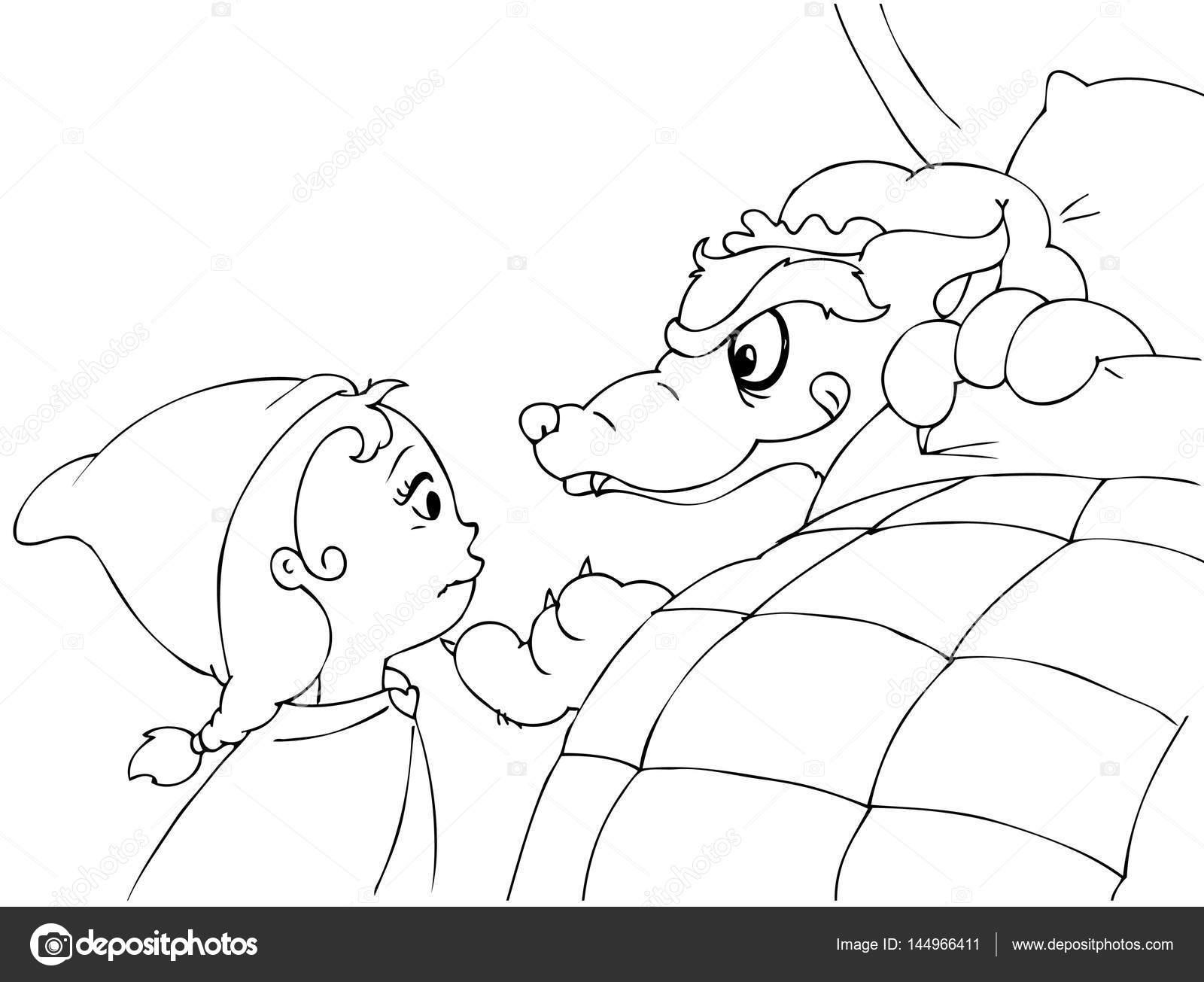 vector de campana y lobo de Caperucita Roja para colorear — Vector ...