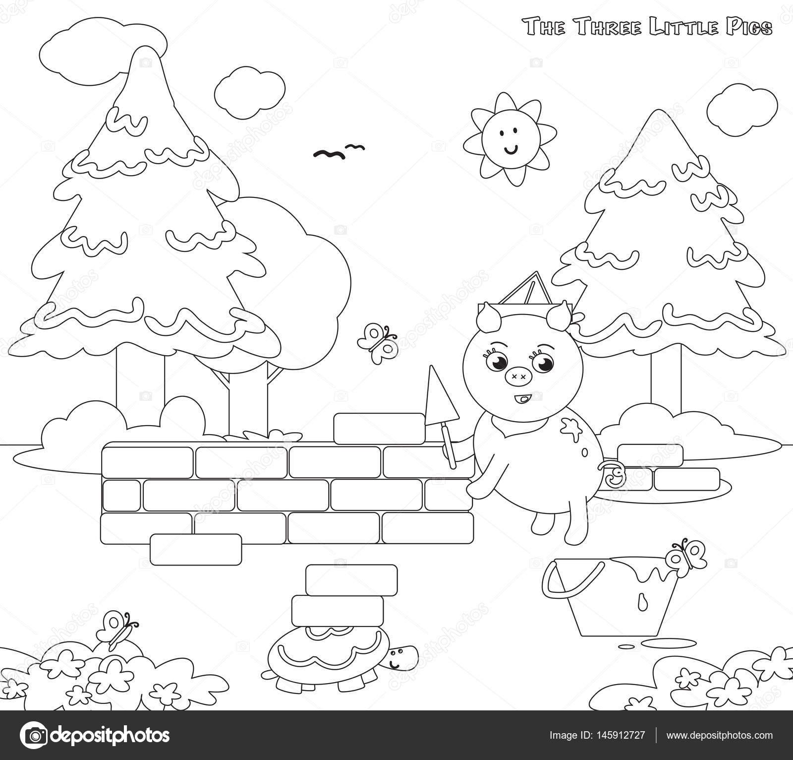 Coloriage Maison Cochon.Coloriage Les Trois Petits Cochons 7 La Maison De Briques Image