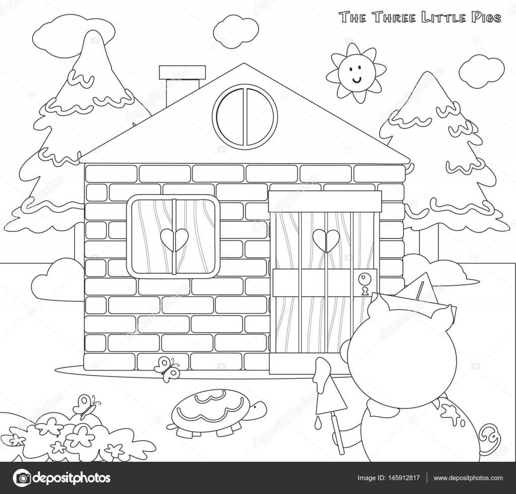 Colorear tres cerditos 8: Casa de ladrillos terminada — Vector de ...