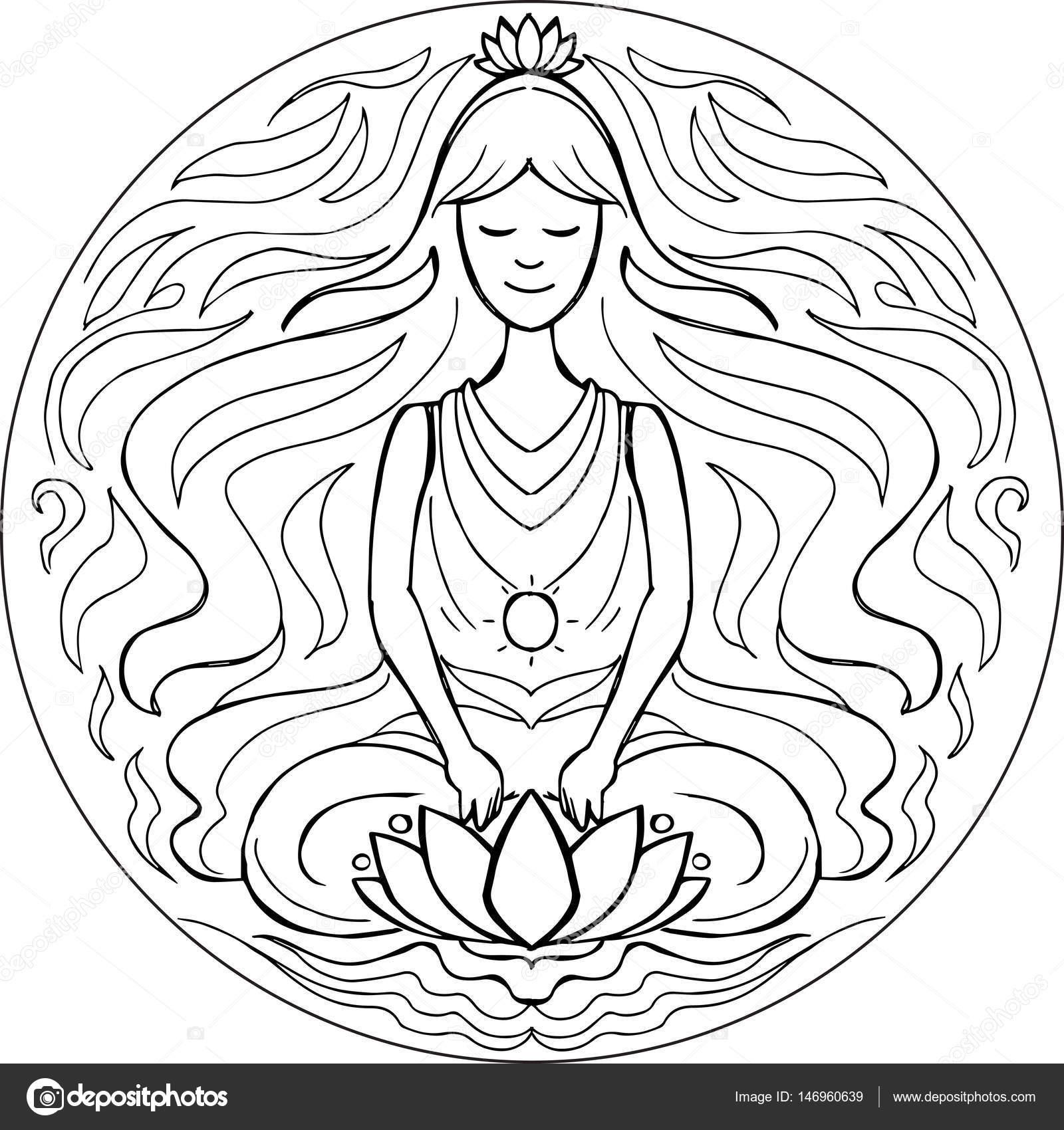 Postura de loto para colorear Mandala — Vector de stock ...