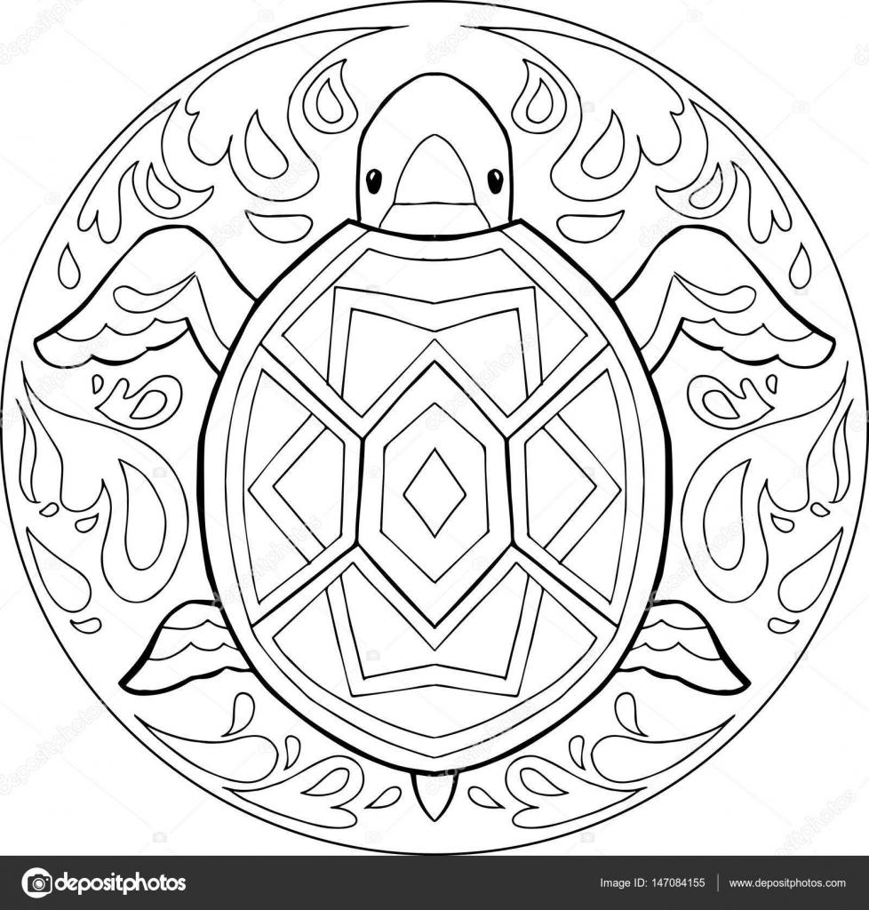 Boyama Kaplumbağa Mandala Vektör Stok Vektör Carlacastagno