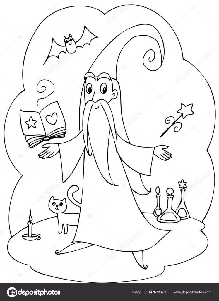 Kleurplaten Van Schattige Wizard Met Toverstaf En Boek Stockvector