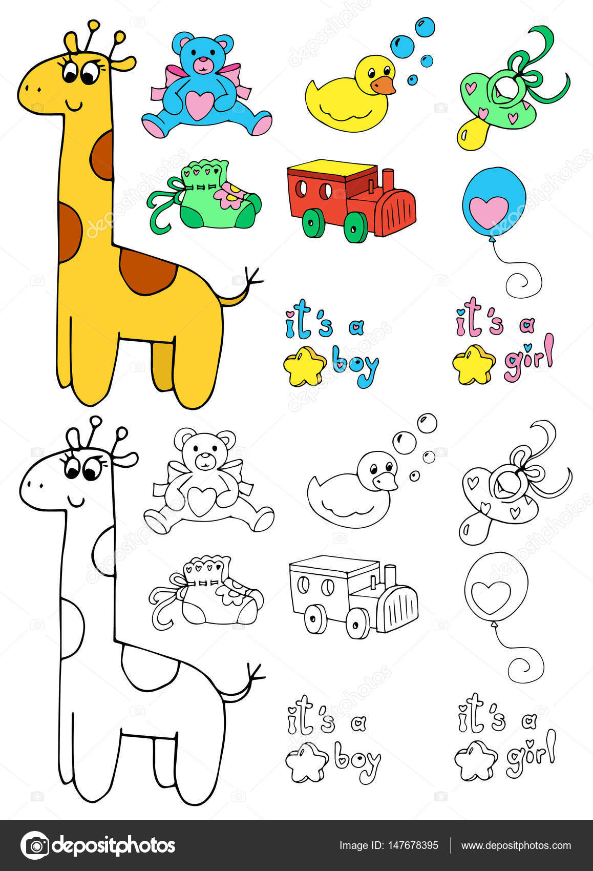Objetos Bebe Para Colorear Objetos De Bebé Para Colorear Vector