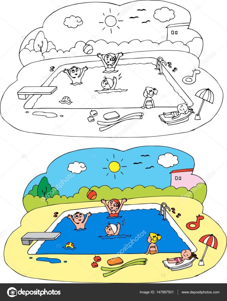 Kleurplaat Kinderen Bij Het Zwembad Stockvector C Carlacastagno