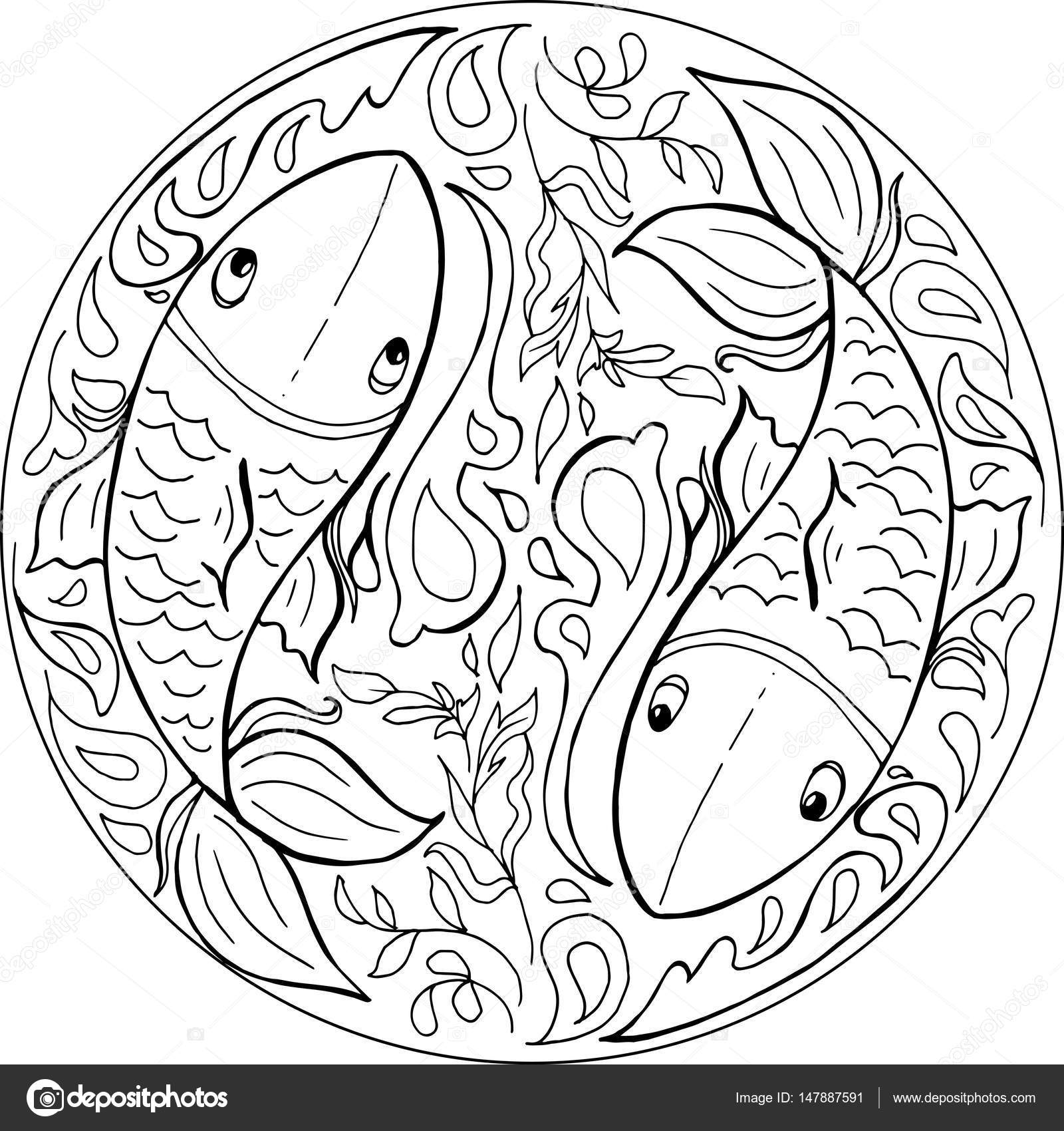 Vector de mandala de peces para colorear — Vector de stock ...