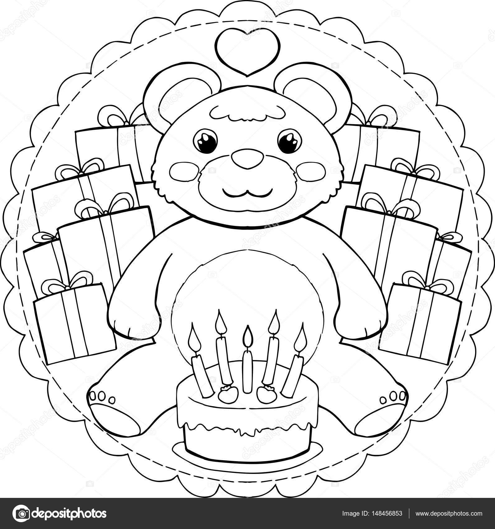 Mandala de osito feliz cumpleaños — Archivo Imágenes Vectoriales ...