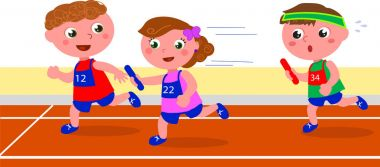 young runners in a relay competition