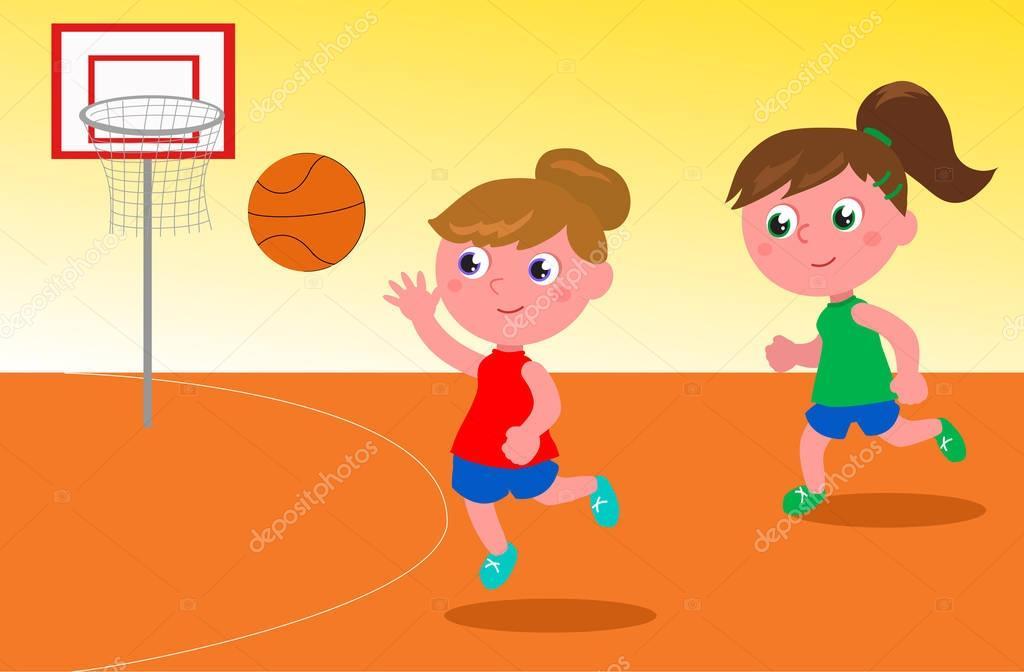 Imgenes Nias Jugando Baloncesto  Nias Jugando Vector -9421