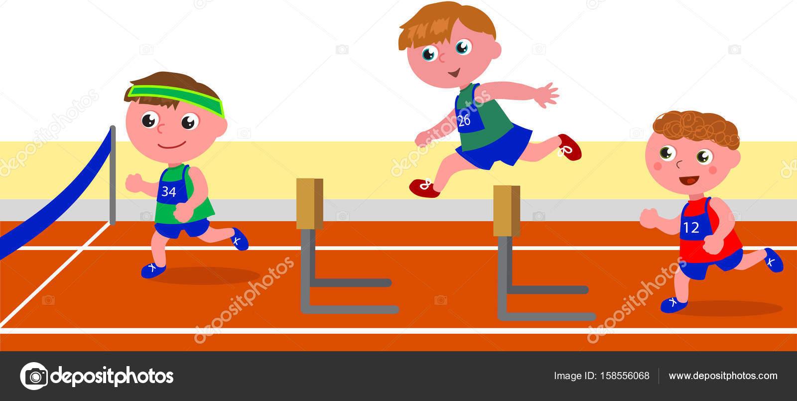 Carrera de obstáculos de los niños — Archivo Imágenes Vectoriales ...