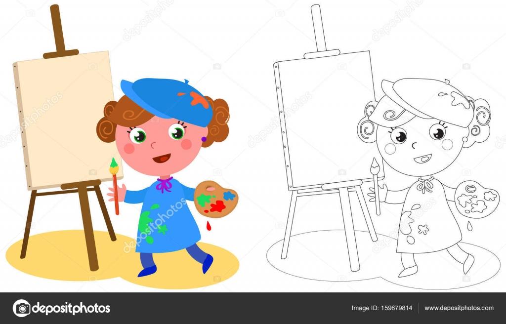 Joven Pintor Para Colorear Vector De Dibujos Animados
