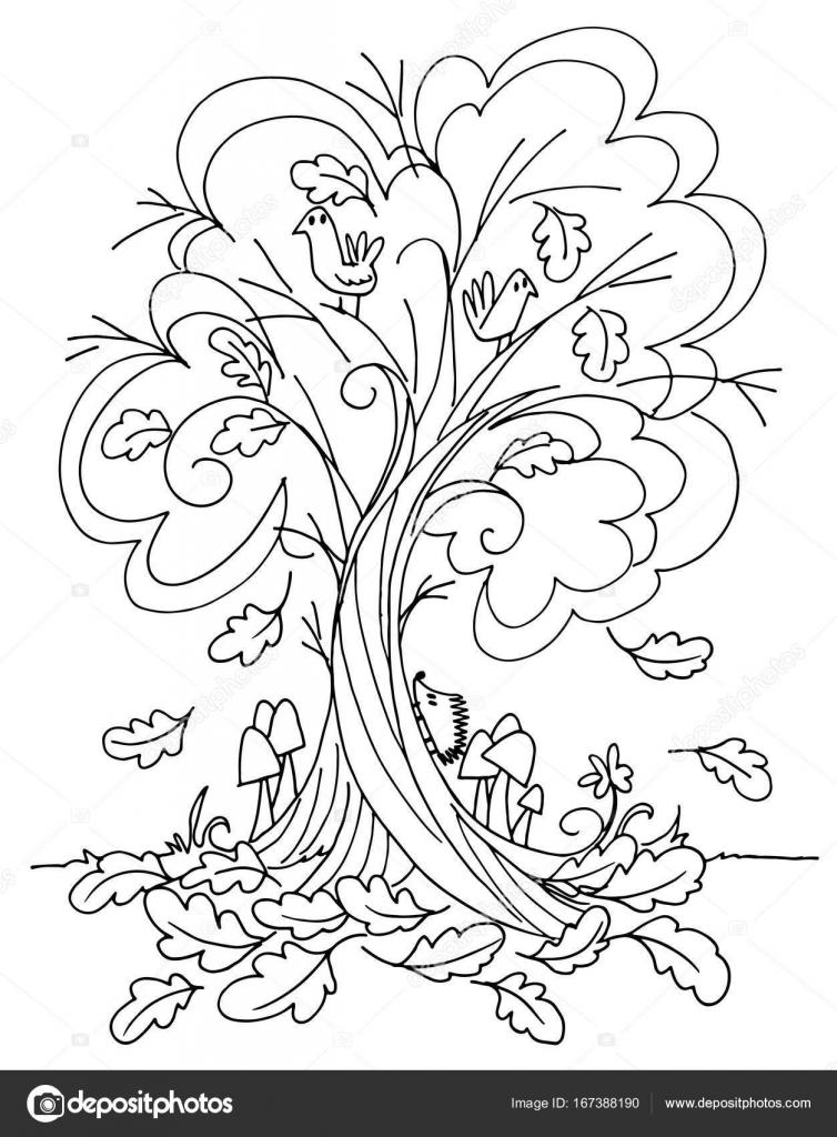 Sonbahar Ağaç Vektör Boyama Stok Vektör Carlacastagno 167388190
