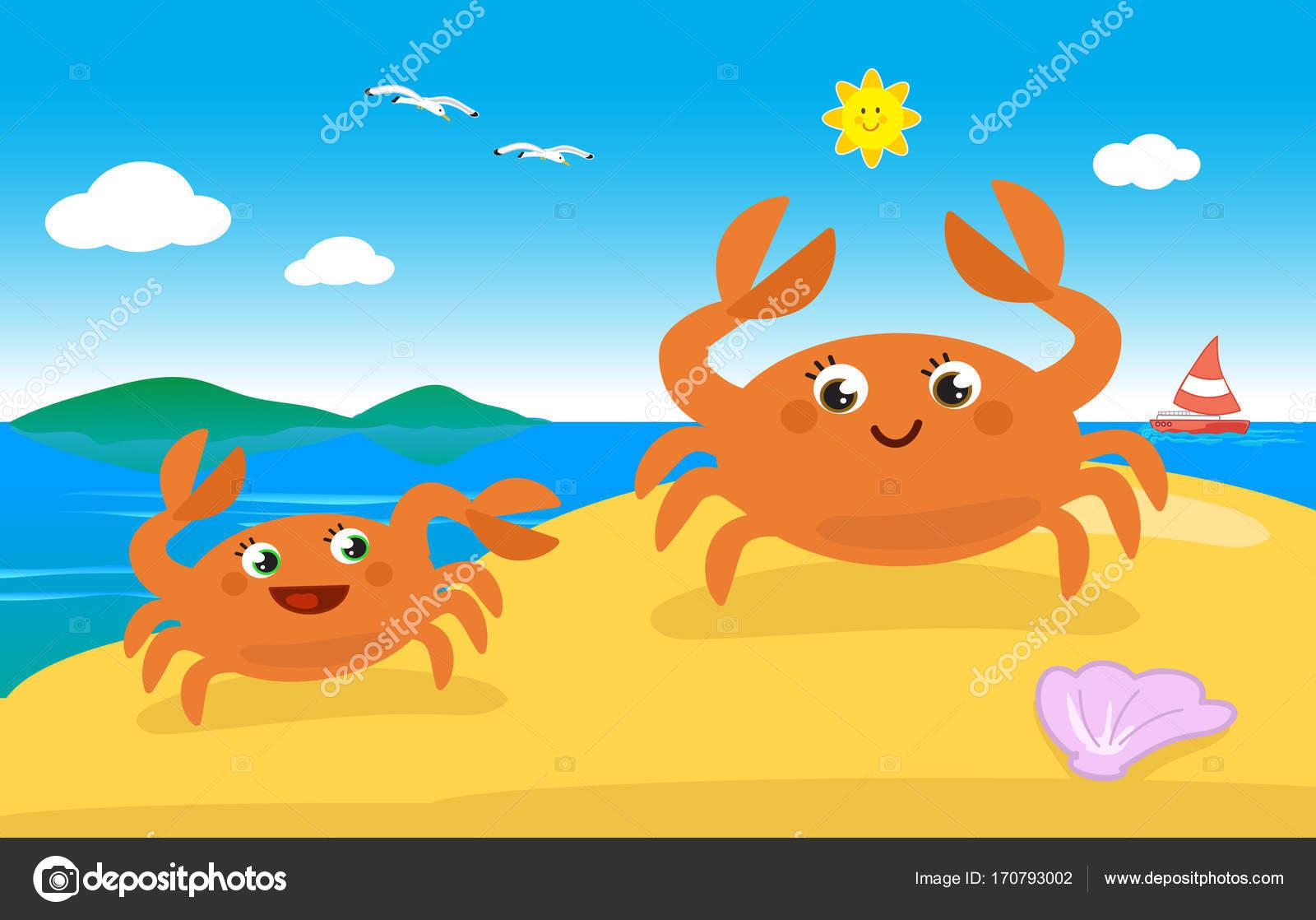 Familia cangrejo lindo en la playa — Vector de stock © carlacastagno ...