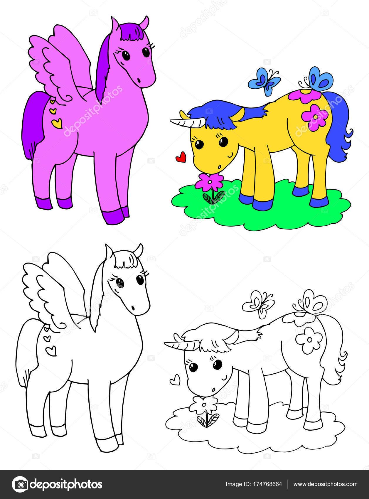 Vector de Pegaso y unicornio para colorear — Vector de stock ...