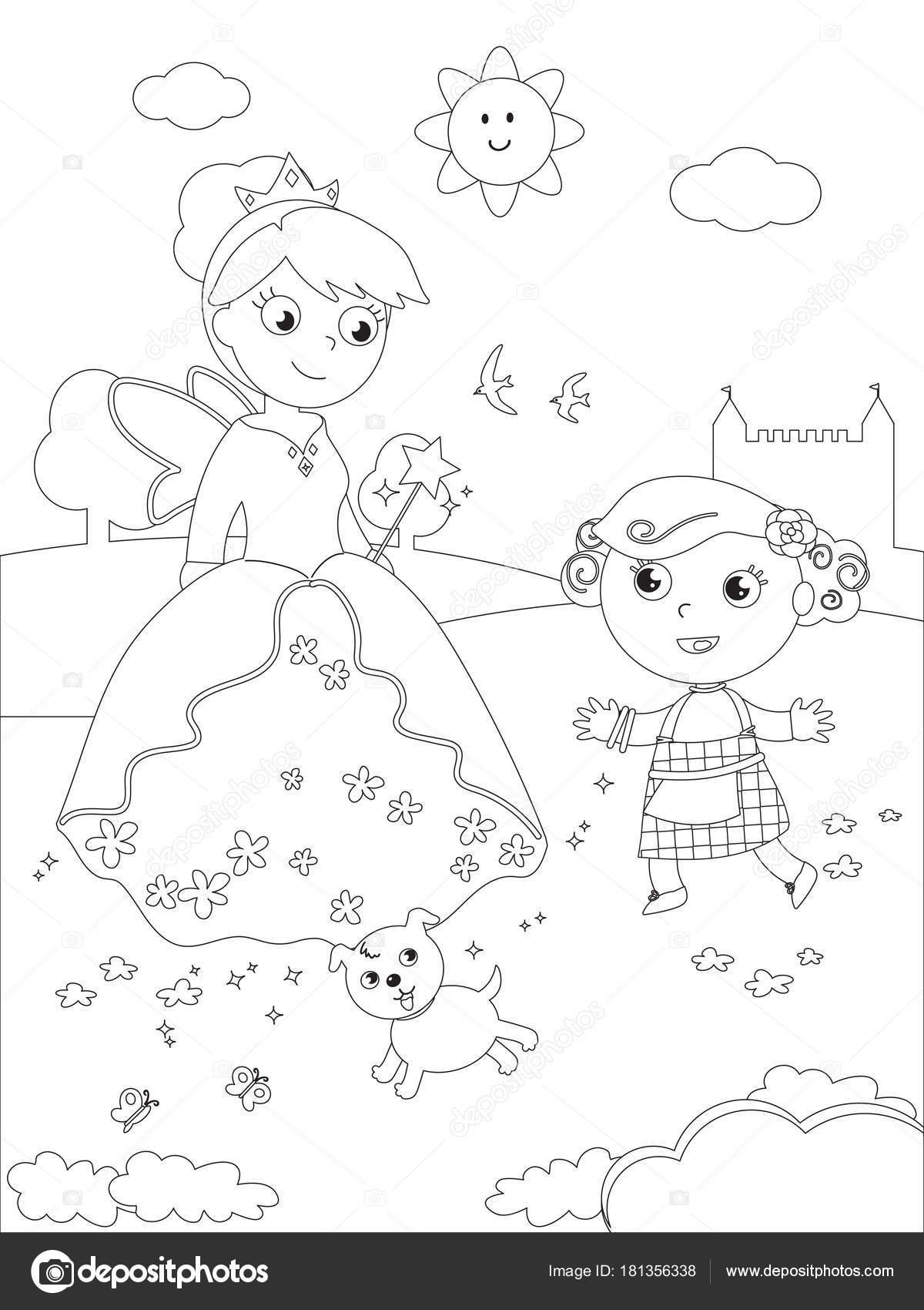 Para colorear mago de Oz 07 Dorothy y Glinda — Archivo Imágenes ...