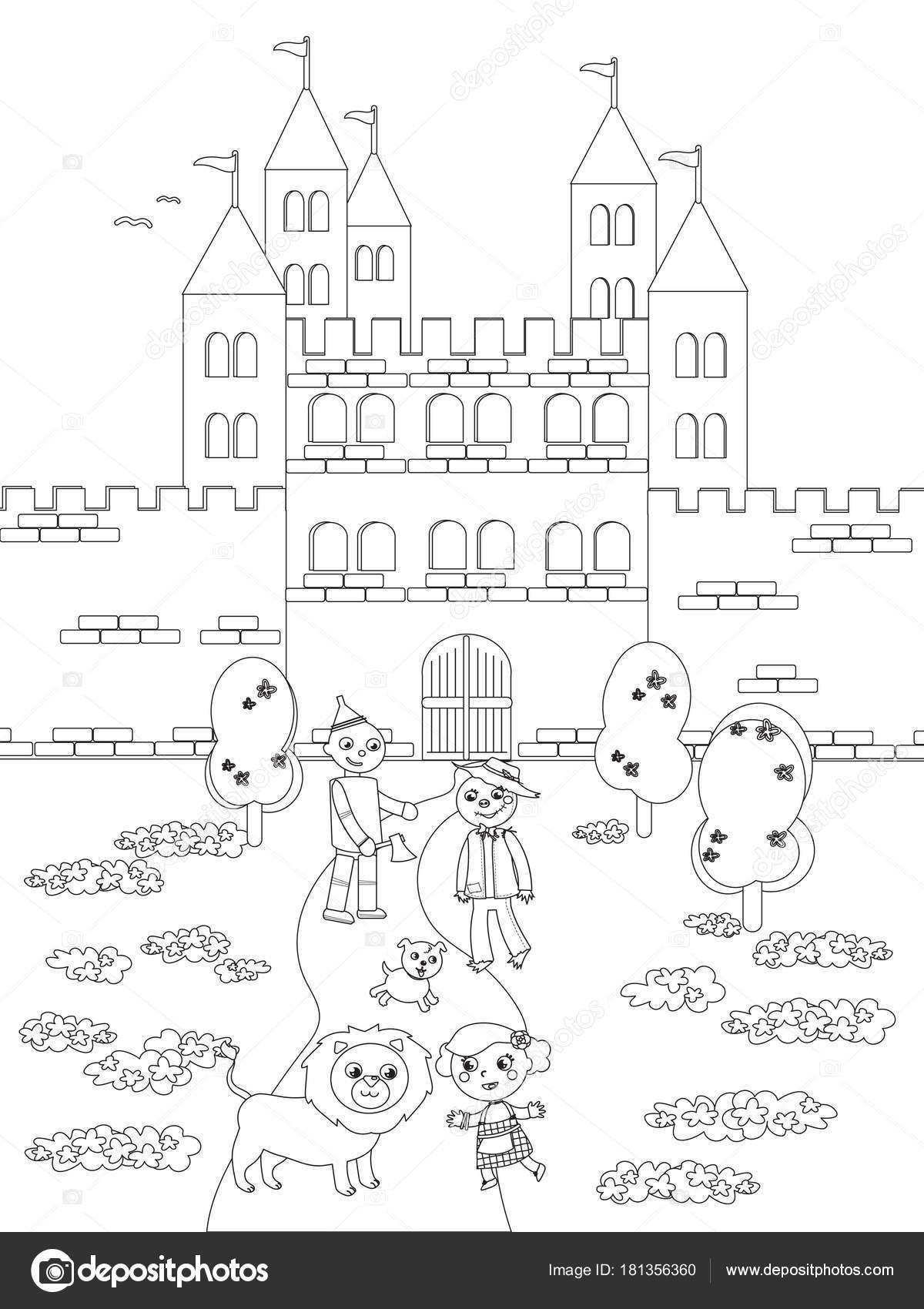 Para colorear mago de Oz 05 el castillo Esmeraldo — Archivo Imágenes ...