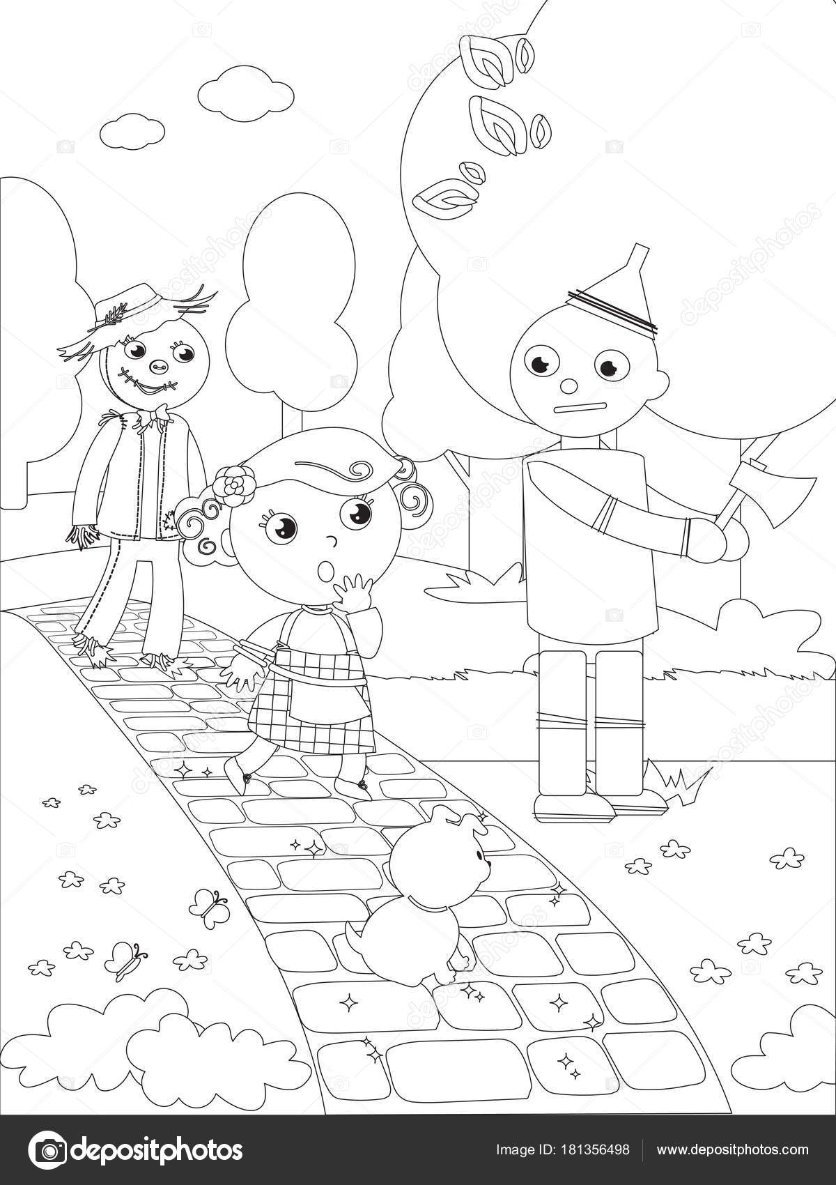 Para colorear mago de Oz 03 el hombre de la lata — Archivo Imágenes ...