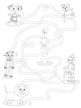 Wizard of OZ coloring maze game help Dorothy to find friends