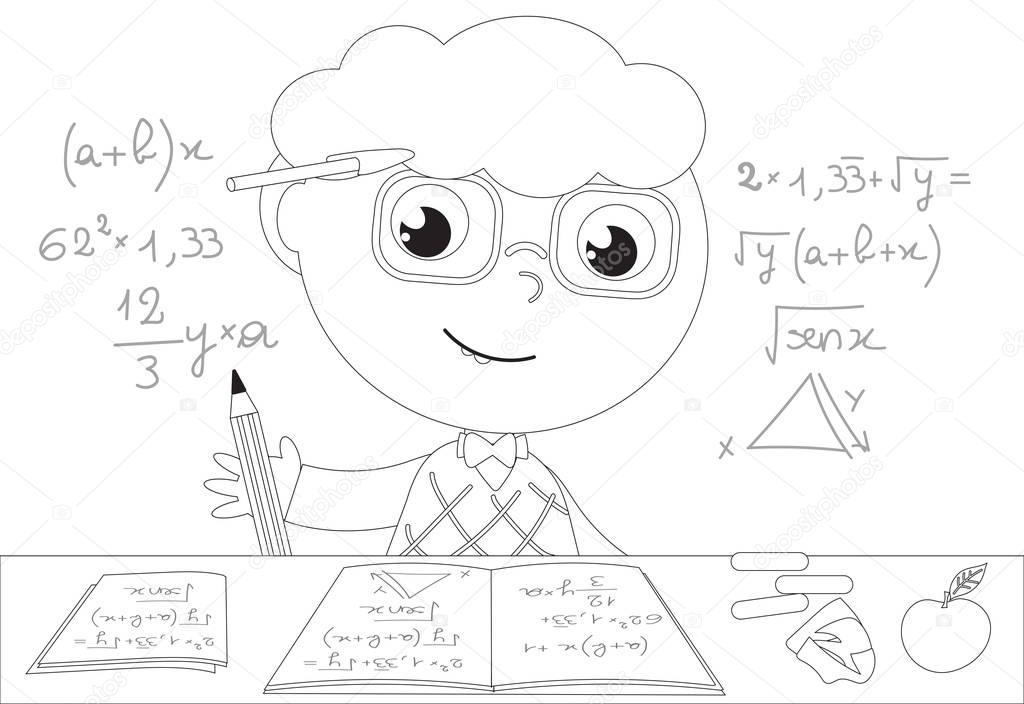 Dibujos matematicas animados para colorear muchacho de - Dibujos de pared para ninos ...
