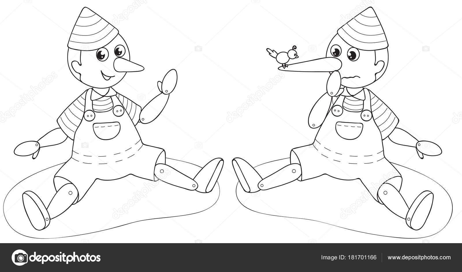 Pinokyo Yalancı Kukla Boyama Vektör Stok Vektör Carlacastagno