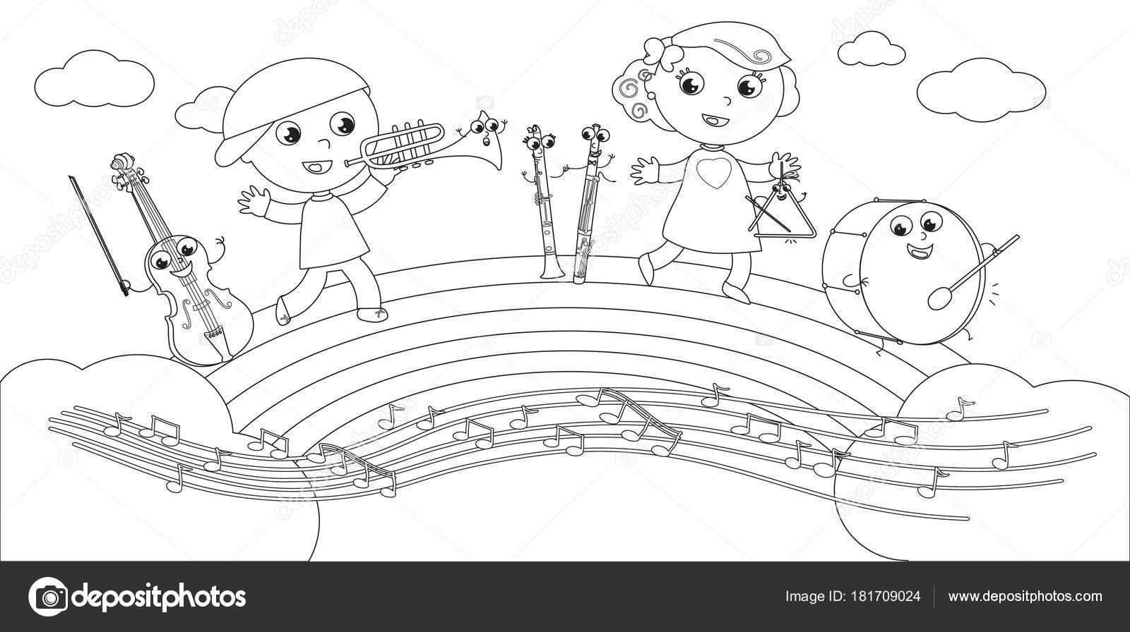 Disegno Da Colorare Bambini Che Giocano.Disegni E Di Bambini Disegni Da Colorare Strumenti E
