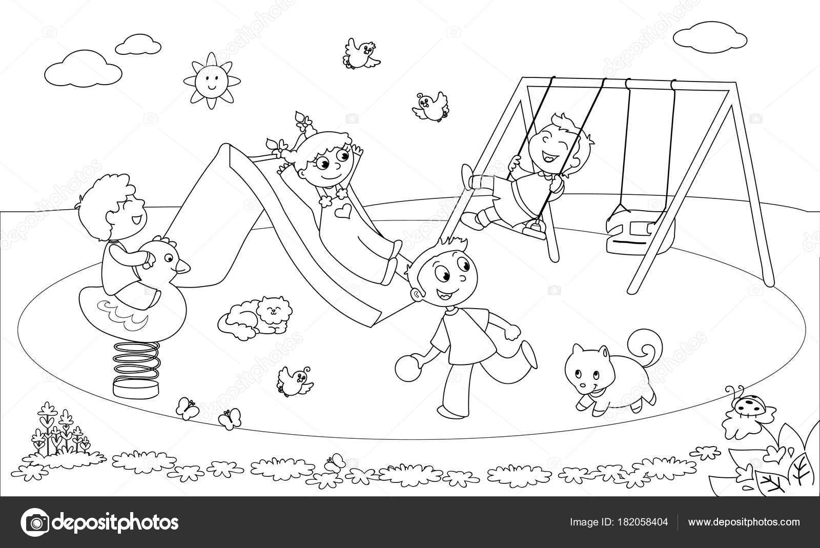 çocuklar Vektör Boyama Bahçesi Stok Vektör Carlacastagno 182058404