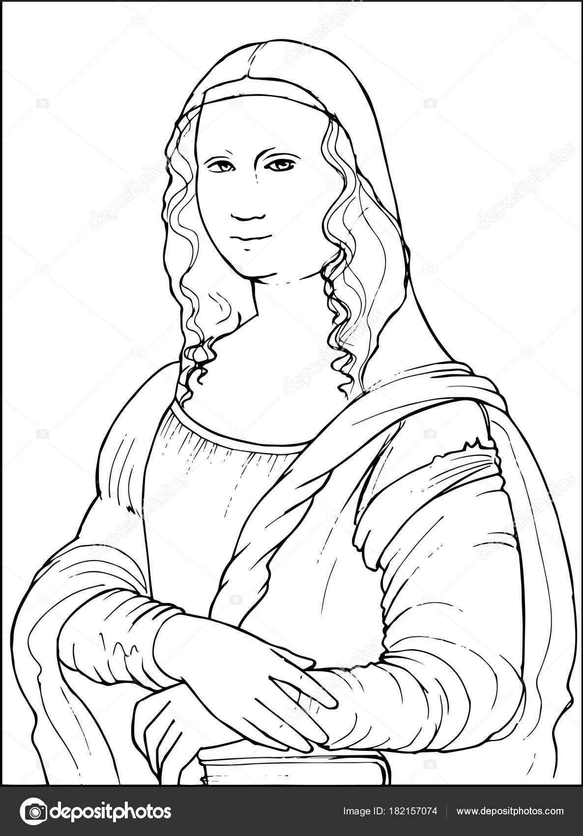 Mona Lisa Coloring Vector Illustration Stock Vector