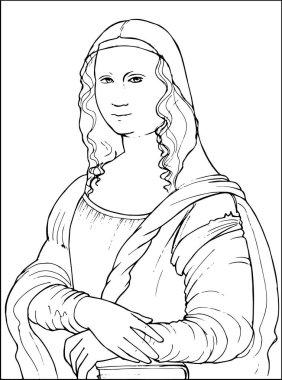 Mona Lisa Coloring vector illustration