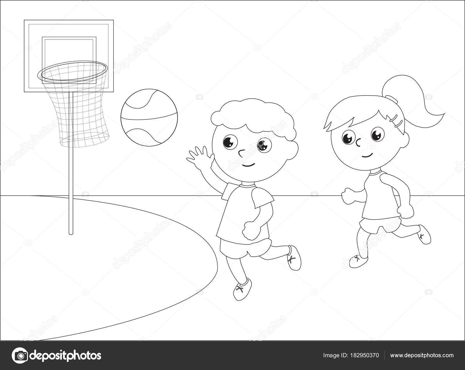 Niños Jugando Vector De Baloncesto Blanco Y Negro
