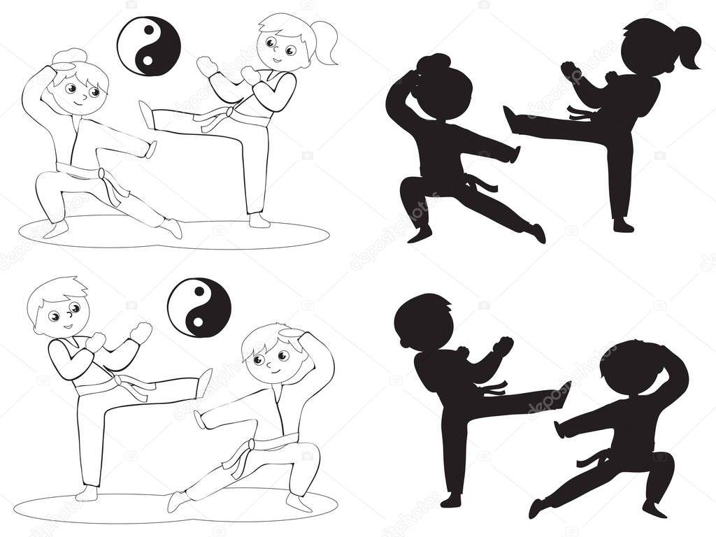 Siluetas De Deportistas Para Colorear Niños De Karate Para