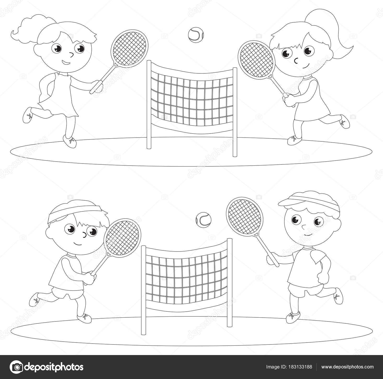 Imágenes Mujer Jugando Tenis Para Colorear Colorear Niños Jugando
