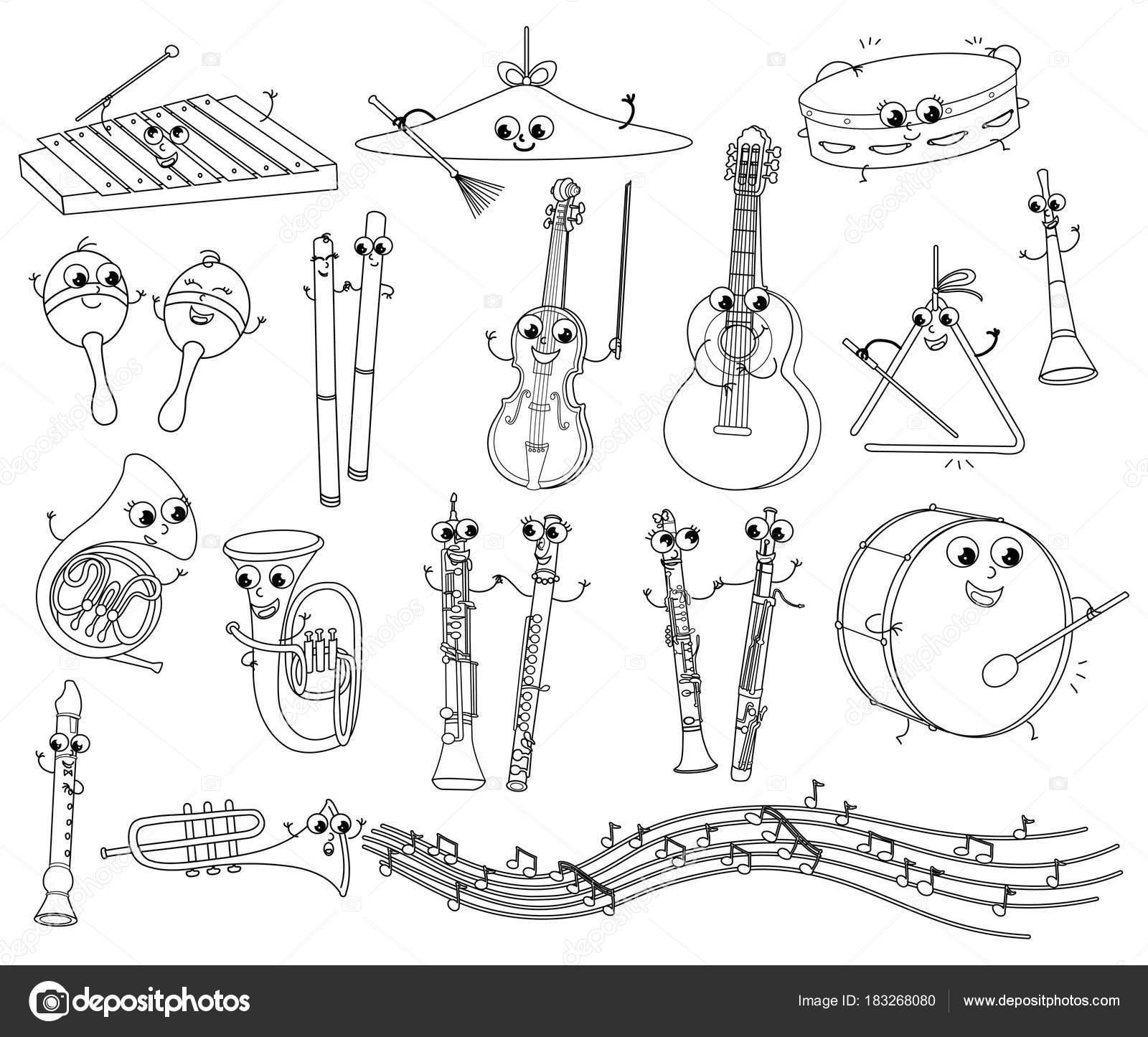 Juego de divertido para colorear instrumentos musicales para el ...