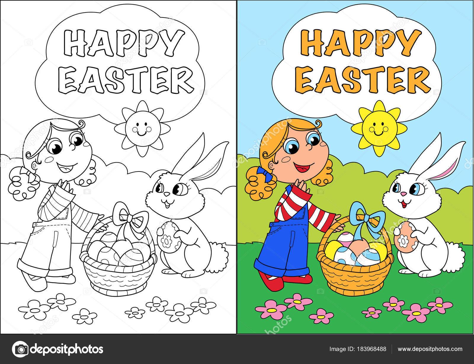 Vrolijk Pasen Kleurplaat Kaart Voor Kinderen Stockfoto