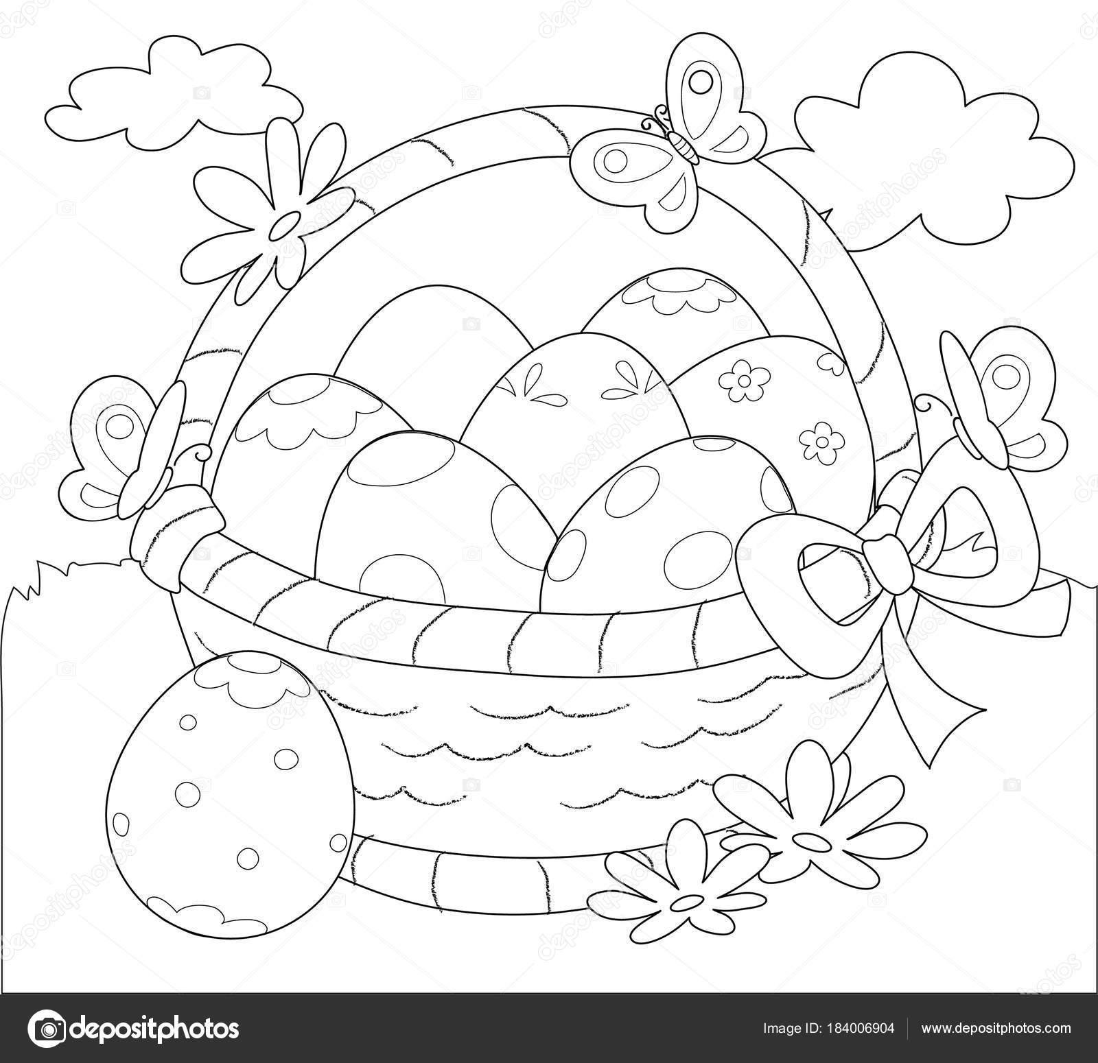Cesta de huevos de Pascua para colorear vector — Archivo Imágenes ...