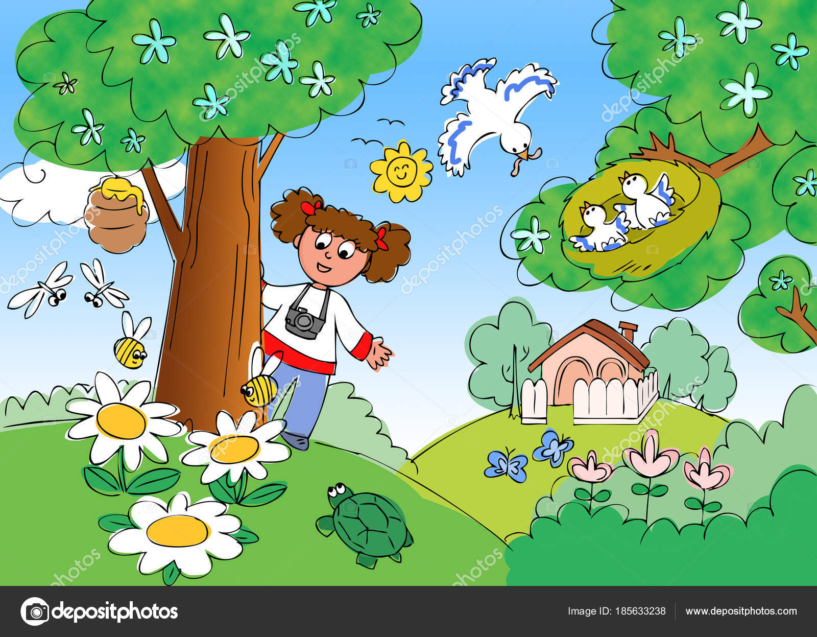 Child in countryside with photo-camera cartoon illustration ...
