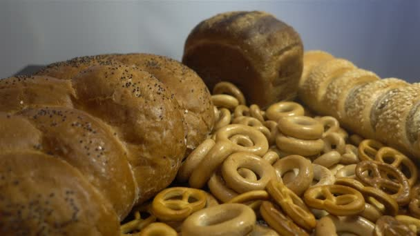 Different bread and ears of wheat close hd