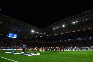Leipzig, Germany - March 20, 2020: Leipzig Arena and match Leipzig vs Tottenham