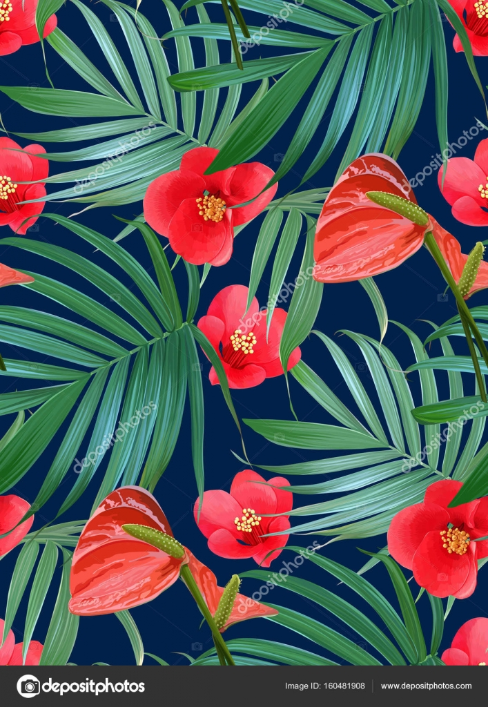 Vector tropical flowers and palm leaves seamless pattern floral vector tropical flowers and palm leaves seamless pattern floral exotic hawaiian background blooming elements isolated hand drawn jungle plants vector izmirmasajfo