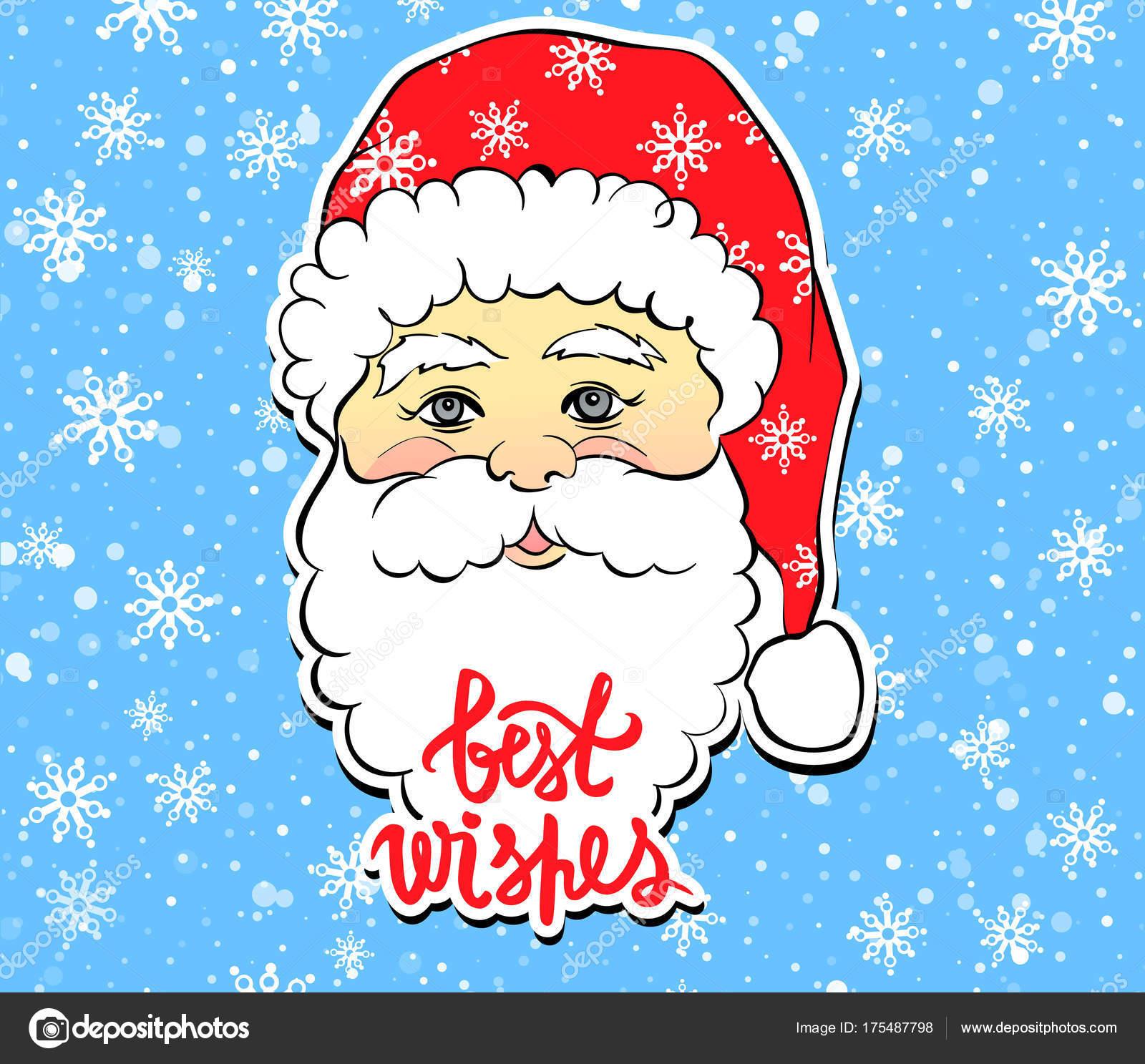 Vektor-Illustration Cartoon Weihnachtsmann mit besten Wünschen lett ...