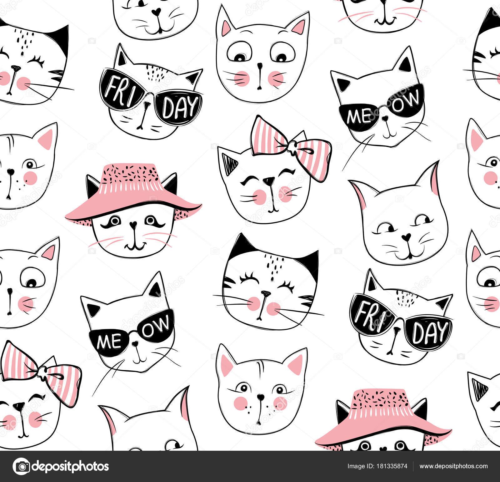 Vector Fashion Cat Seamless Pattern Cute Kitten Illustration In
