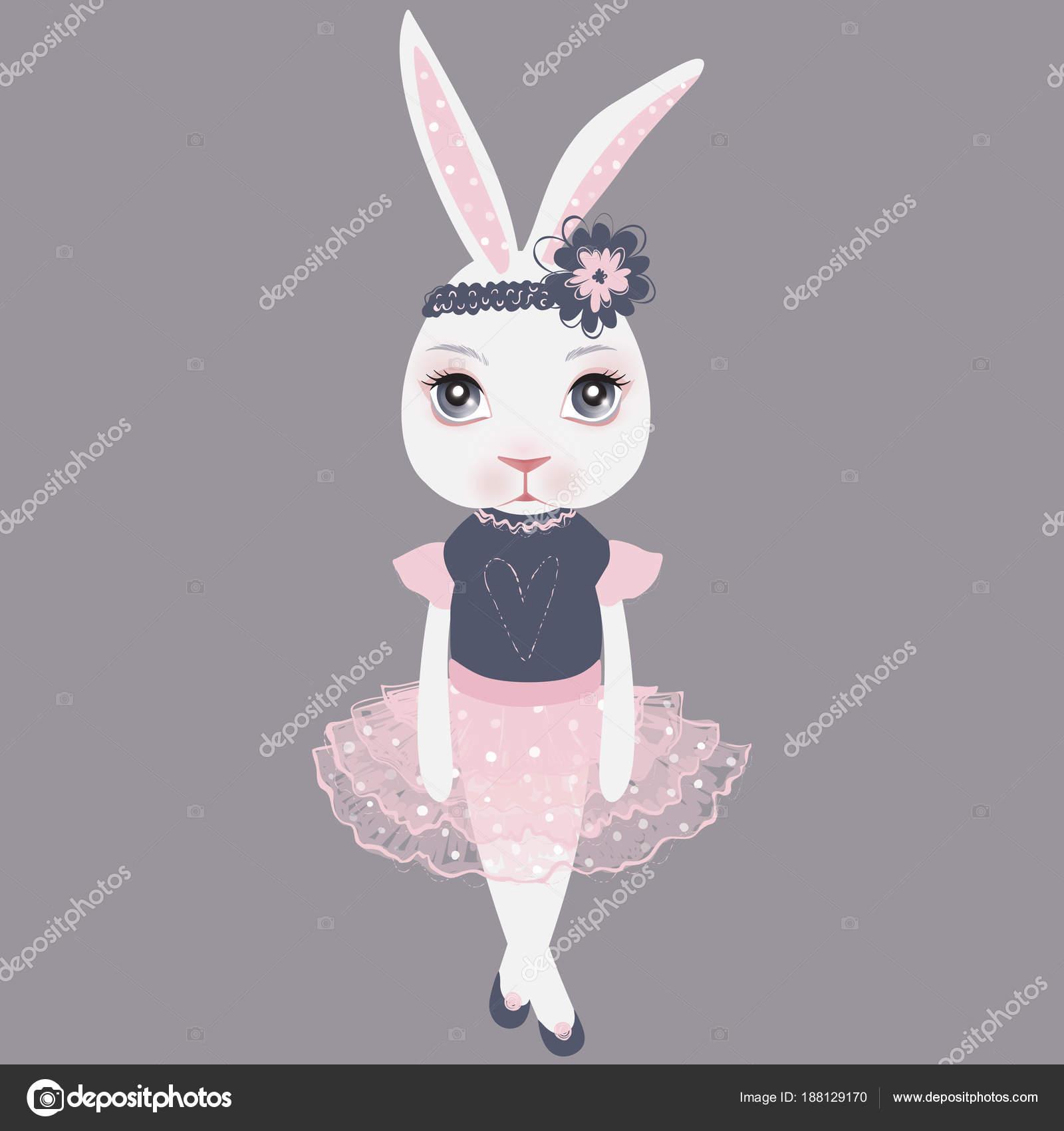 ベクター ピンクのドレスかわいいうさぎ幸せなイースター イラストca
