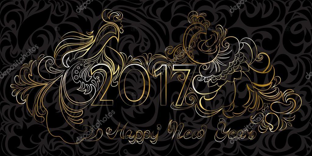 A Frase Ouro Feliz Ano Novo De 2017 E Galos Nas Costas Preto Vetor