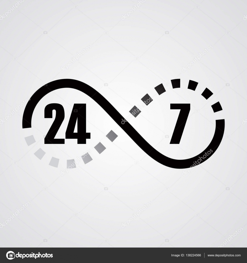 Infinity sign 24 hours 7 days a week stock vector black and gray gradient infinity sign twenty four hours a day seven times a week on a light background vector by irkasmorodina8gmail biocorpaavc Choice Image