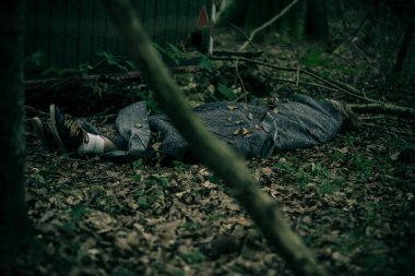 Murdered body in forest wrapped in tarpaulin