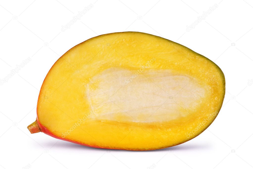 Ripe mango slices on white