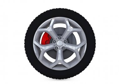 Car Wheel. Concept design. 3D render..