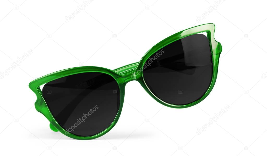 Women's green sunglasses isolated on white